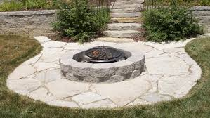 stone patio ideas circular stone fire pit