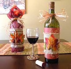 Thanksgiving Wine Bottle Decorations How to Wrap a Wine Bottle for Thanksgiving 1
