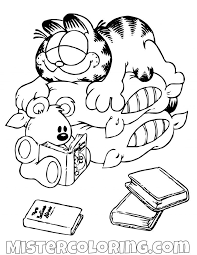 Garfield And Spooky Sleeping On Pillow Coloring Page Gaft