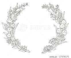花のリース 線画のイラスト素材 17378171 Pixta