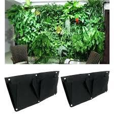 2 pocket indoor outdoor wall balcony garden hanging planter bag pots bunnings