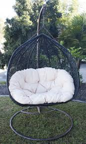 hanging egg chair black chairs outdoor nz double rattan wicker
