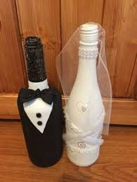 How To Decorate A Wine Bottle For A Wedding Bride and Groom Wine Bottles Wedding Centerpiece Newlyweds 2