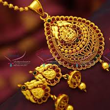 ps4140 red gold plated kemp stones south indian traditional temple nakshi pendant set