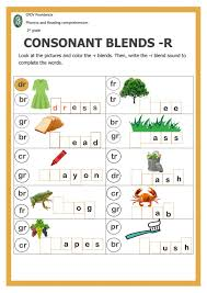 Short vowels, long vowels, consonant blends/digraphs, and advanced phonics sounds. Consonant Blends With R Interactive Worksheet