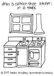 simple kitchen drawing. Contemporary Kitchen Draw A Cartoon Kitchen In Few Steps To Simple Drawing