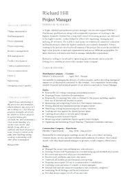 Construction Project Manager Resume Template General