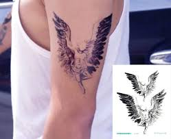 Temporary Tattoo For Girls Men Women 3d Big Angel With Wings Face