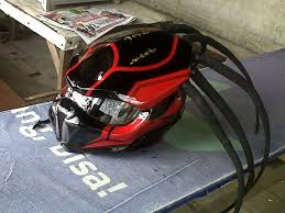 black and red alien predator motorcycle helmet with led dot