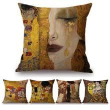 <b>Чехол для подушки</b> Gustav Klimt с масляной росписью, <b>чехол для</b> ...