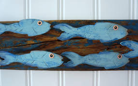 school of fish wall art hand made painted wood fish on weathered wood  on painted wood fish wall art with school of fish wall art hand made painted wood fish on weathered