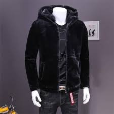 l 4xl faux mink coats men warm hooded coat male winter casual slim thickening zipper black color outerwear a4105
