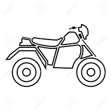 Atv motorcycle on four wheels it is black icon simple style