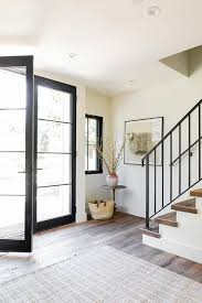 glass and steel double front doors