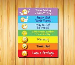 Color Behavior Chart For Kids Printable Behavior Chart For Kids Color Coded Emojis 8x10