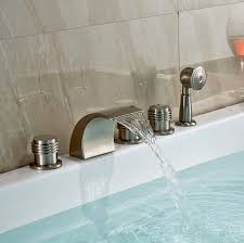 monora brushed nickel waterfall tub faucet three handles with handheld shower