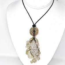 carved old jade phoenix hand blown glass pendant necklace
