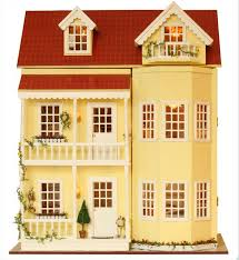 diy wooden dollhouse miniatures house kits led light furniture large villa 3 3 of 3 see more