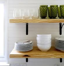 airy looking diy kitchen open shelving