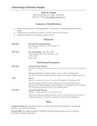 Chronological Resume Sample 53713 Densatilorg