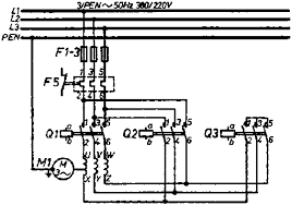 7 1 placement of electric motors 3 Phase Delta Wiring Diagram star delta connection, all pole representation of power part (circuit diagram) 3 phase delta motor wiring diagram