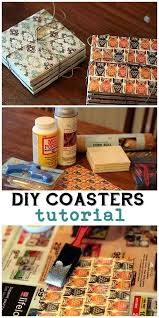 diy coasters made from tile sbook paper and mod podge easy creative crafts projects