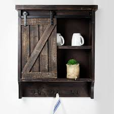 details about rustic bathroom wall medicine cabinet brown farmhouse storage cupboard shelf new