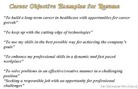 Examples Of Objectives For Resume Englishor Com