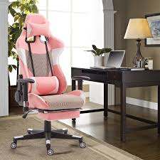 giantex high back racing style pink gaming chair