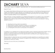 Medical Receptionist Cover Letter Sample Cover Letter Templates