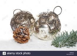 Silber Alt Weihnachtsschmuck Christbaumschmuck Stockfoto