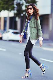 military trend inspired outfit erica hoida is wearing an army green nlst jacket