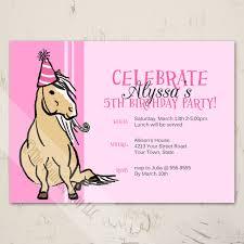 Pink Palomino Pony Birthday Party Invitation 10 Pk