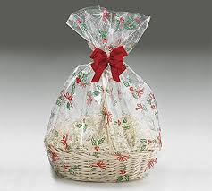 a1bs clear cello cellophane bags gift basket package flat gift bags 5 pack 24 in x 30 in bells bows