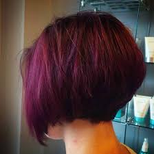 this clic stacked bob haircut gets a dose of fun with a rich burgundy color that ll help it stand out from the pack