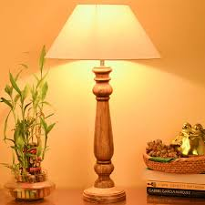 mabel rustic wood table lamp with white shade