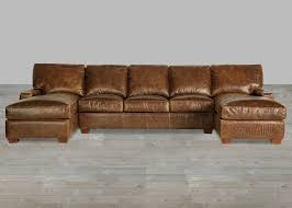 brown leather sectional double chaise lounge