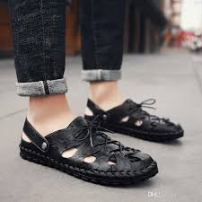 luxury genuine leather men designer sandals summer cow leather new for beach male shoes mens gladiator sandal leather sandals sandels sparx sandals from