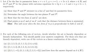 P L Form Amazing Solved Let L Be The Line In Parametric Form X = S 44 Y