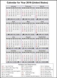 2019 Usa Holiday Calendar With Full Moon Calendar 2019 Calendar