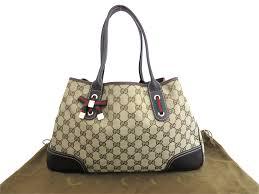 brandvalue gucci gucci bag gg canvas sherry line brown x gold metal fittings canvas x leather tote bag shoulder bag lady s 163805 e34141 rakuten global