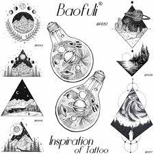временные мужские космические аппараты Ufo татуировка лампа звезды