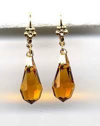 amber topaz cut crystal briolette teardrop earrings 14k gold gp vine czech