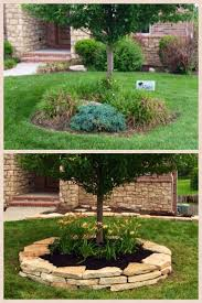 Before and After tree ring. Arkansas Sandstone was used for edging. Top  soil was