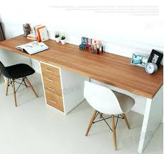 double long table desk computer home desktop minimalist modern with drawers black on one side