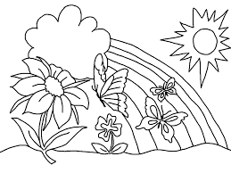 Spring Coloring Pages Butterfly Flower Rainbow Best Free Coloring