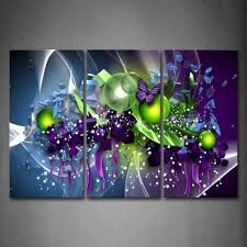 3 piece wall art painting artistic purple butterfly green ball print on canvas the picture abstract 4 pictures in painting calligraphy from home garden  on purple and green canvas wall art with 3 piece wall art painting artistic purple butterfly green ball print