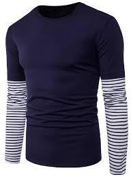 Faux Twinset Panel Design Shirt Striped Panel Design Faux Twinset Long Sleeve T Shirt