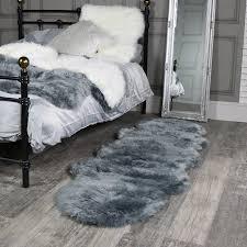 double pelt grey faux fur rug 65cm x 200cm