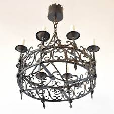 large iron ring chandelier hand forged in france
